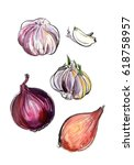 onions painted in watercolor... | Shutterstock . vector #618758957