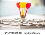 close red and yellow dart on... | Shutterstock . vector #618780137