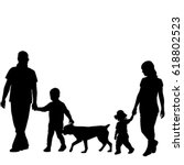 family silhouettes with two... | Shutterstock .eps vector #618802523