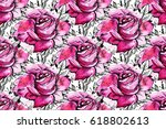 seamless pattern with  pink... | Shutterstock . vector #618802613