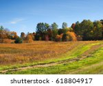 Autumn Field With Dirt Road...