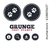 grunge post stamps. paw sign... | Shutterstock .eps vector #618805637