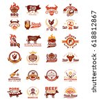 set of vector color grill and... | Shutterstock .eps vector #618812867