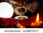 woman fortune teller looking in ... | Shutterstock . vector #618823217