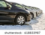 parked cars on a lot. row of...   Shutterstock . vector #618833987
