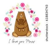 cute cartoon bear with its baby ...   Shutterstock .eps vector #618834743