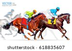 four racing horses competing... | Shutterstock .eps vector #618835607