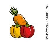 orgenic carrot and peppers... | Shutterstock .eps vector #618842753