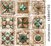 vintage italian tile with... | Shutterstock . vector #618844733