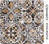 vintage italian tile with...   Shutterstock . vector #618844823