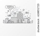 flat line hospital design... | Shutterstock .eps vector #618851723