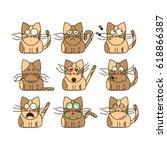 set of cat emoticons. cute cat... | Shutterstock .eps vector #618866387