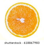 Small photo of Orange fruit. Orange slice isolated on white background. Top view.