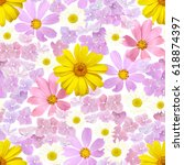 seamless summer pattern with... | Shutterstock .eps vector #618874397