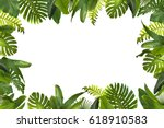 tropical leaves background | Shutterstock . vector #618910583