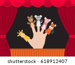 puppet theater for finger toys... | Shutterstock .eps vector #618912407