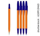 set of realistic ballpoint pens ... | Shutterstock .eps vector #618913463