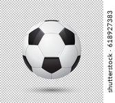 vector realistic flying soccer... | Shutterstock .eps vector #618927383