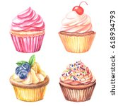 cupcakes watercolor set | Shutterstock . vector #618934793