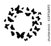 butterflies silhouette vector... | Shutterstock .eps vector #618936893