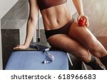 girl working out at gym | Shutterstock . vector #618966683
