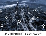 map pin flat on blue tone... | Shutterstock . vector #618971897