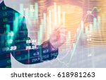 double exposure businessman and ... | Shutterstock . vector #618981263