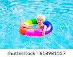 happy little boy playing with... | Shutterstock . vector #618981527