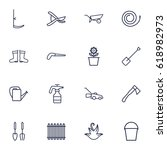 set of 16 farm outline icons... | Shutterstock .eps vector #618982973