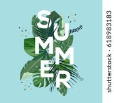 summer letter with tropical... | Shutterstock .eps vector #618983183