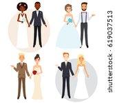 cute wedding couple invitation... | Shutterstock .eps vector #619037513