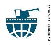 combine harvester logo. sign... | Shutterstock .eps vector #619038713