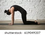 young yogi woman practicing... | Shutterstock . vector #619049207