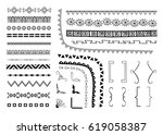 set of hand drawn decorative... | Shutterstock .eps vector #619058387