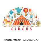 circus collection with carnival ... | Shutterstock .eps vector #619068977
