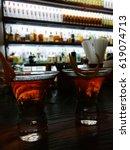 orange alcoholic fresh cocktail ... | Shutterstock . vector #619074713