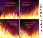 set of banners with flame... | Shutterstock .eps vector #619079927