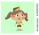 cute scout girls cartoon... | Shutterstock .eps vector #619090493