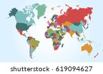 world map countries vector on... | Shutterstock .eps vector #619094627