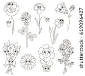 flower set to be colored  the... | Shutterstock .eps vector #619096427