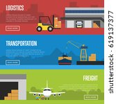 logistics and freight... | Shutterstock .eps vector #619137377