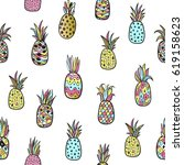 seamless pattern with colorful... | Shutterstock .eps vector #619158623