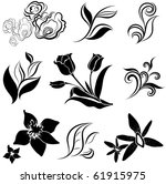 raster set of black flower and... | Shutterstock . vector #61915975