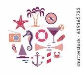 beach  vector sea illustration  ... | Shutterstock .eps vector #619165733