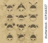 cartoon cute monsters. | Shutterstock . vector #619166327