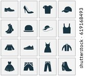 dress icons set. collection of... | Shutterstock .eps vector #619168493