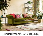 modern interior design.... | Shutterstock . vector #619183133
