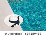 hat and sunglasses at the side... | Shutterstock . vector #619189493