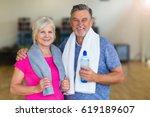 mature couple doing fitness... | Shutterstock . vector #619189607