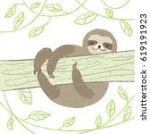 cute sloth climbs a tree on... | Shutterstock .eps vector #619191923